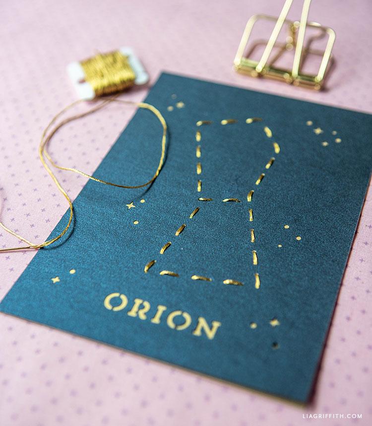 handmade Orion constellation lacing card