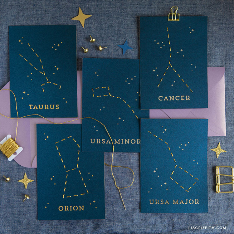 constellation lacing cards with printable envelopes