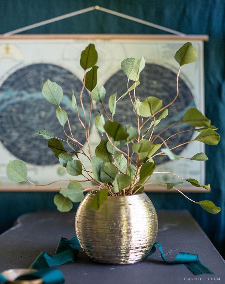 handmade crepe paper silver dollar eucalyptus