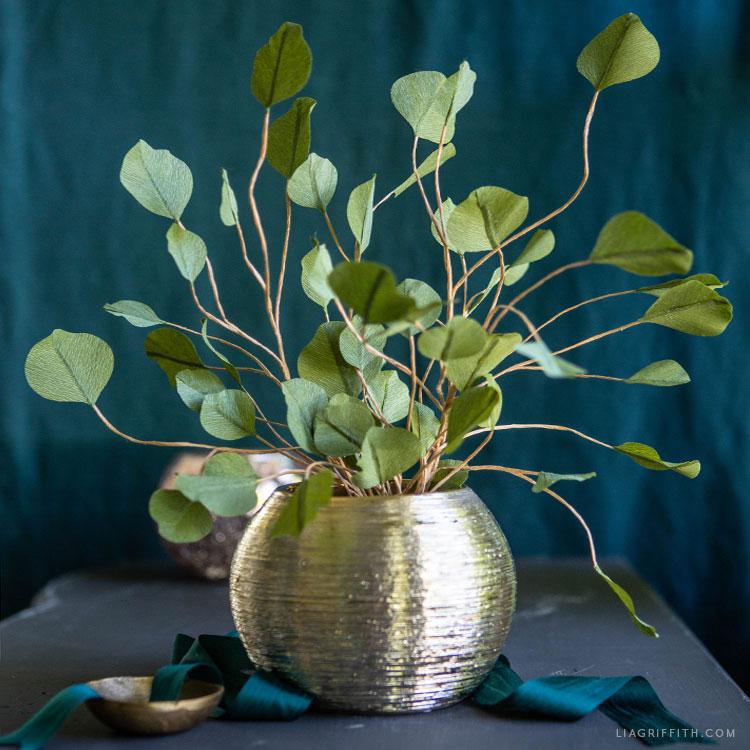 DIY crepe paper silver dollar eucalyptus