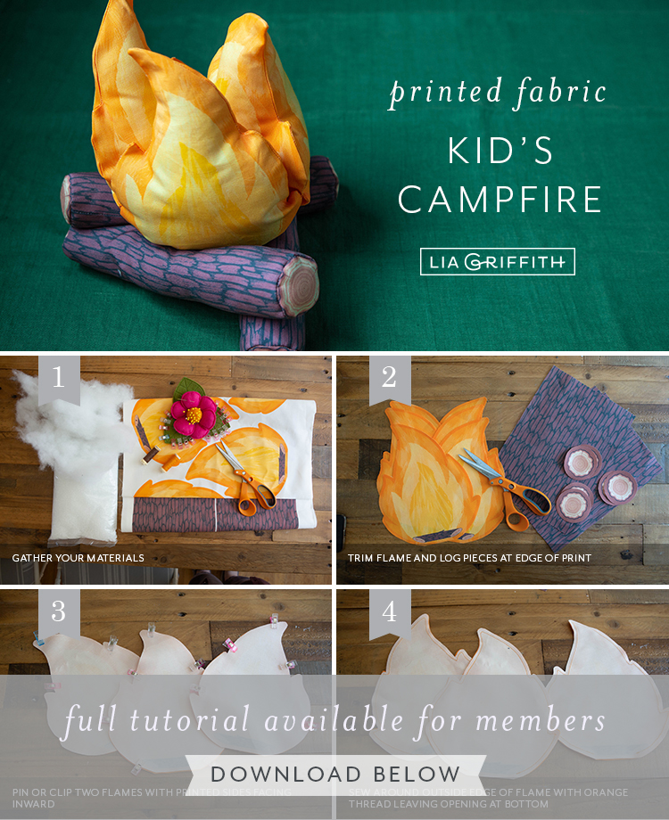 Photo tutorial for printed fabric kid's campfire by Lia Griffith