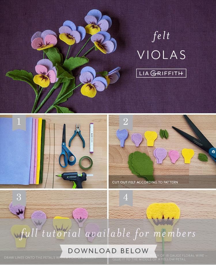 Photo tutorial for felt violas celestial twilight by Lia Griffith