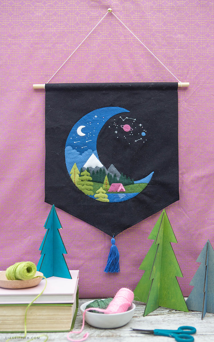 Handmade starry night camping banner