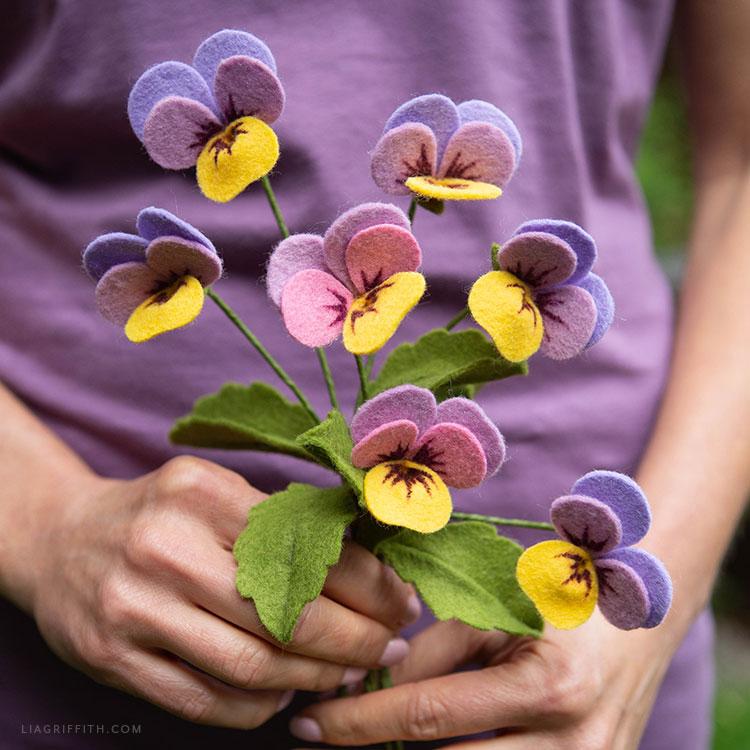 felt viola celestial twilight flowers