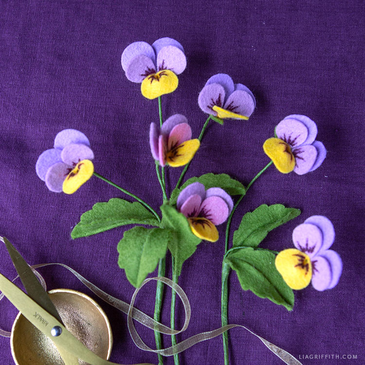 handcut felt viola celestial twilight flowers