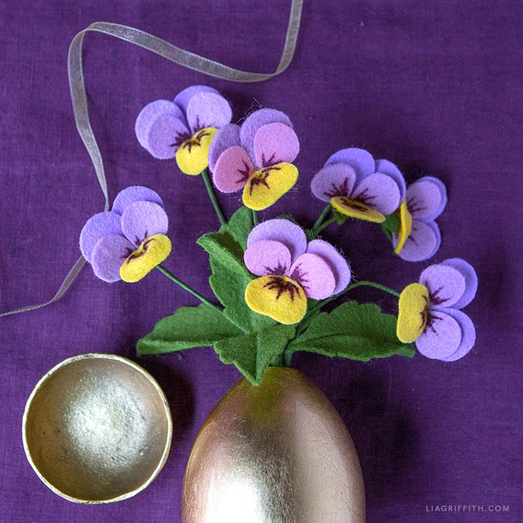 felt viola flowers