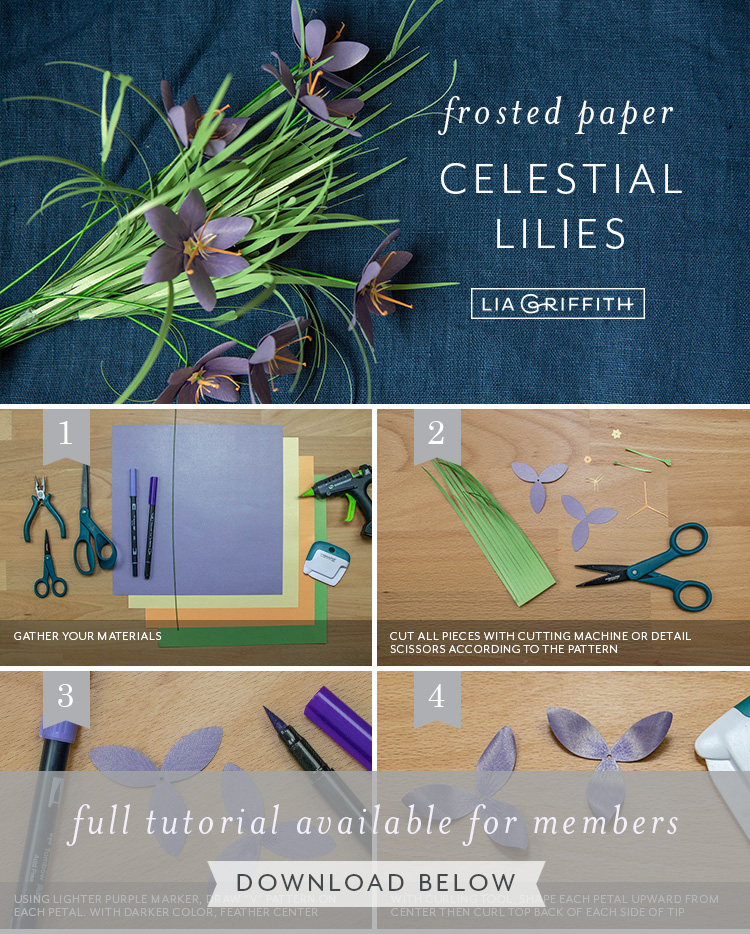 photo tutorial for frosted paper celestial lily blooms by Lia Griffith
