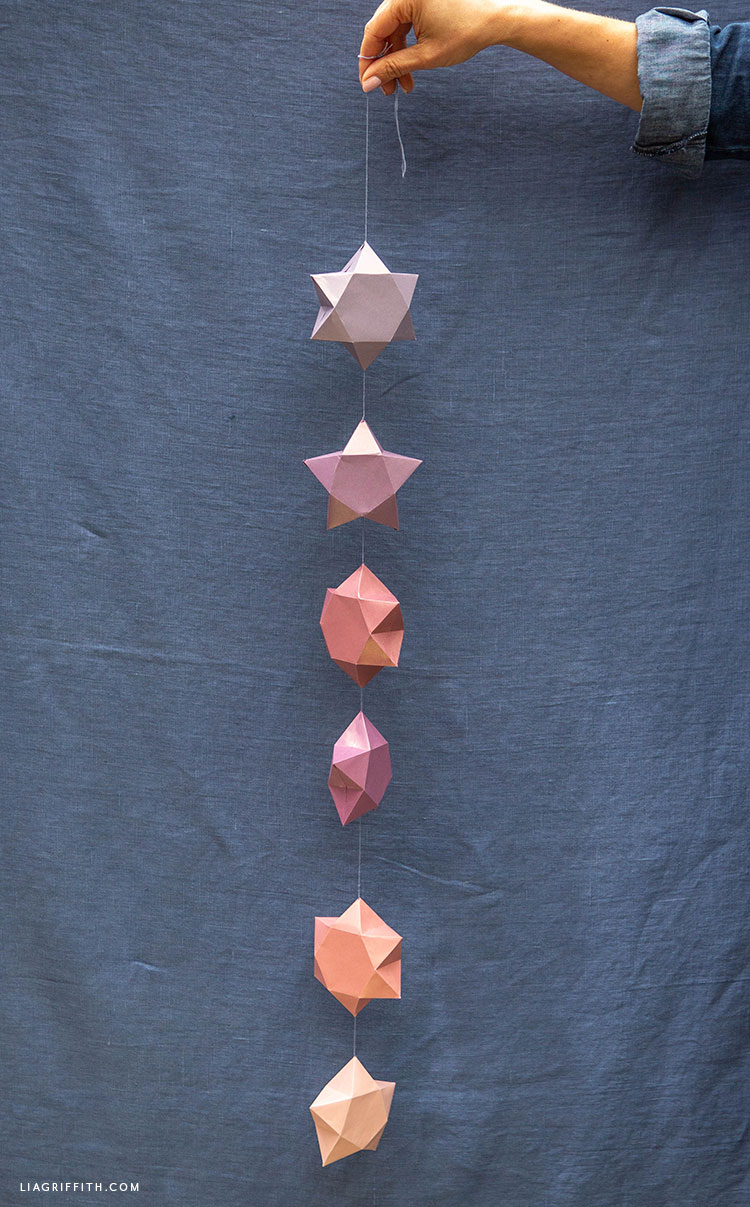 frosted paper 3D star garland