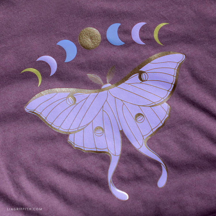 luna moth and moon phases iron-on