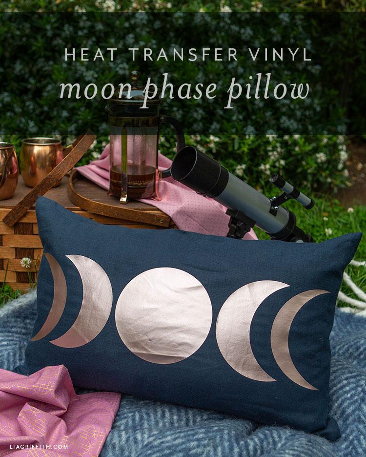 heat transfer vinyl moon phases pillow