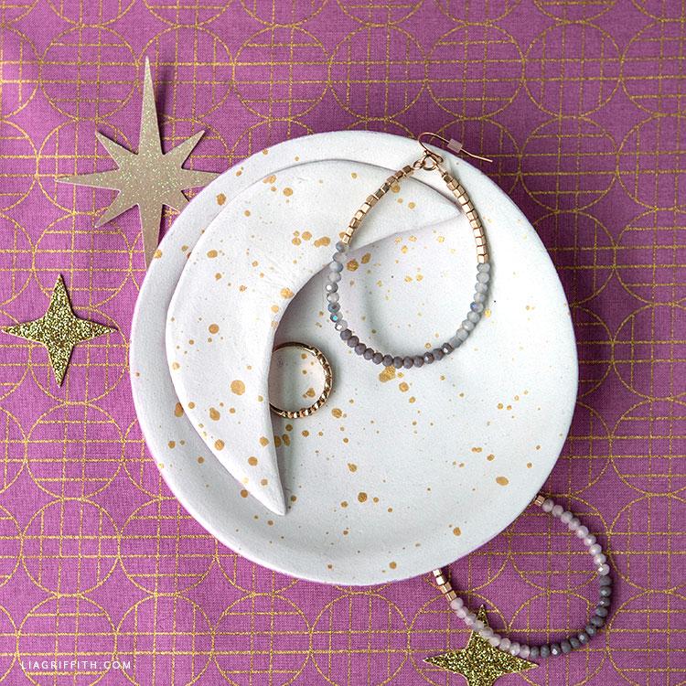 DIY clay moon trinket dish