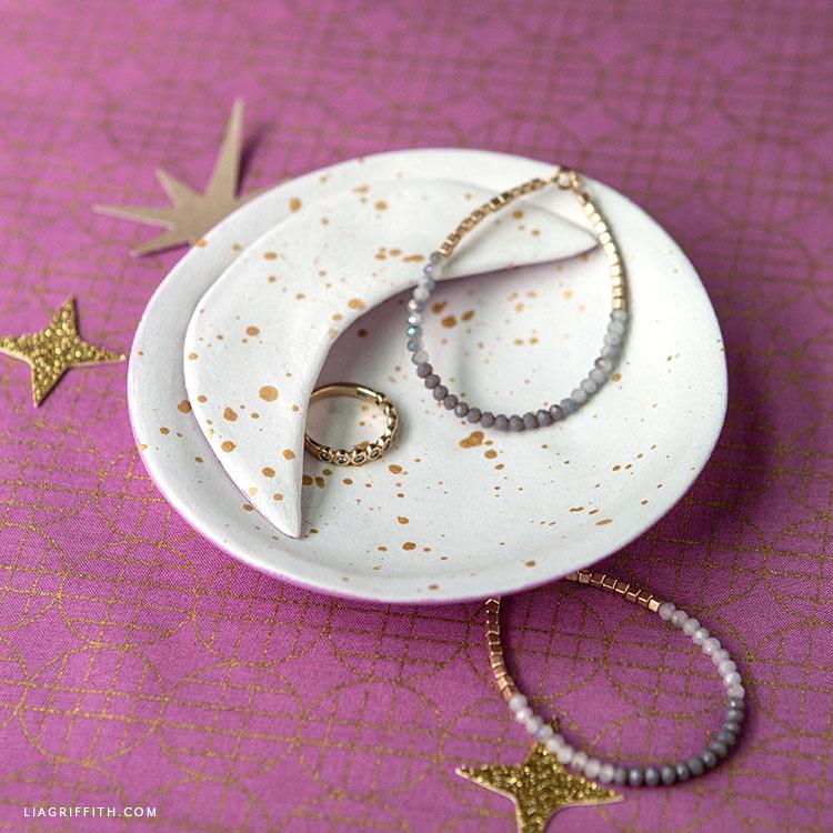 DIY clay moon jewelry dish