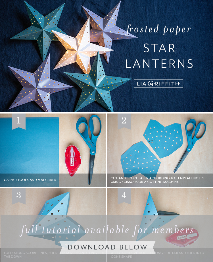Photo tutorial for frosted paper star lanterns by Lia Griffith