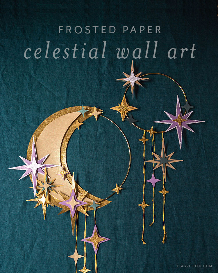 frosted paper celestial wall art with moon and stars