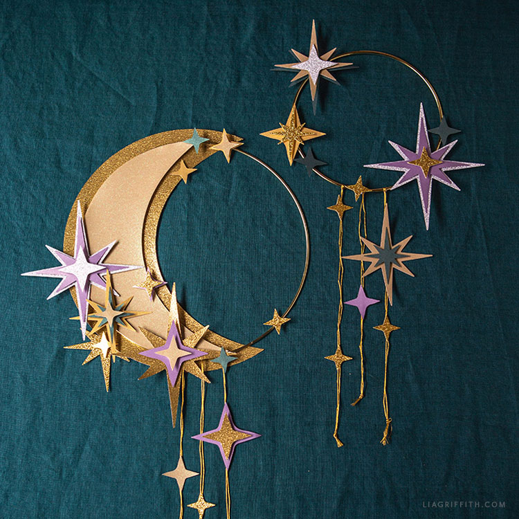 papercut moon and star wreaths