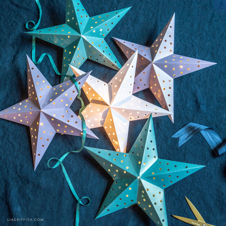 frosted paper star lanterns