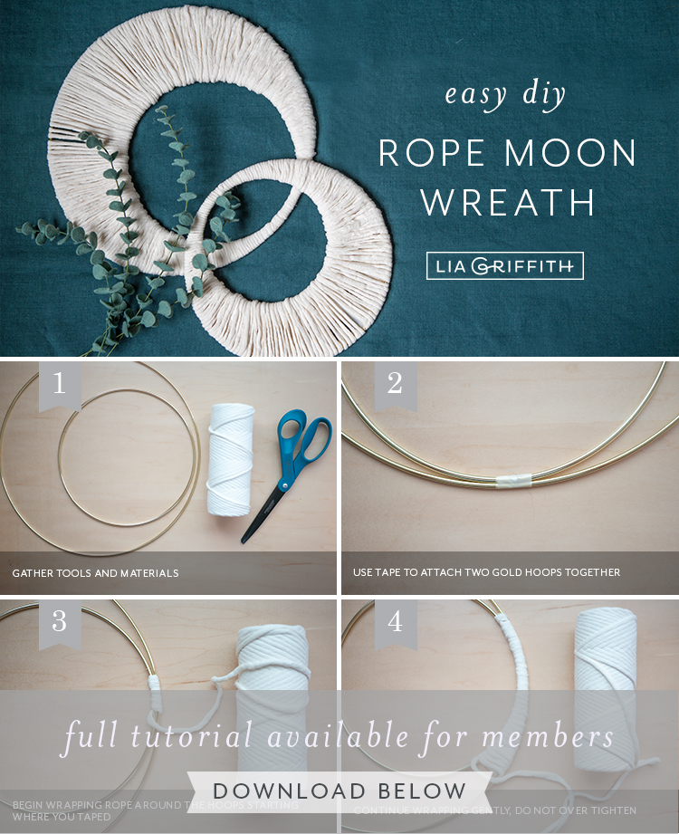 Photo tutorial for rope and metal moon wreath by Lia Griffith