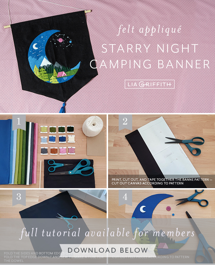 Photo tutorial for felt applique starry night camping banner by Lia Griffith