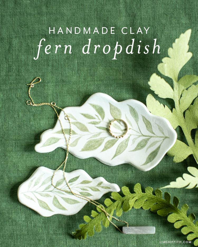 handmade clay fern drop dish