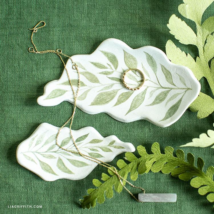 handmade clay leaf jewelry dishes