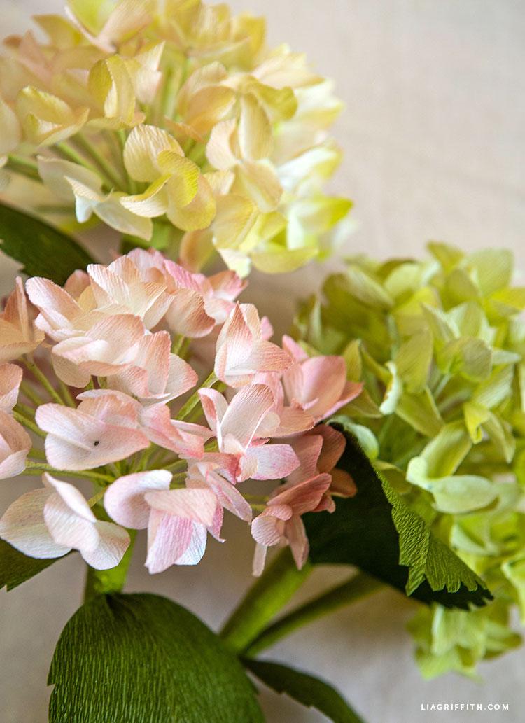 handmade crepe paper hydrangea flowers
