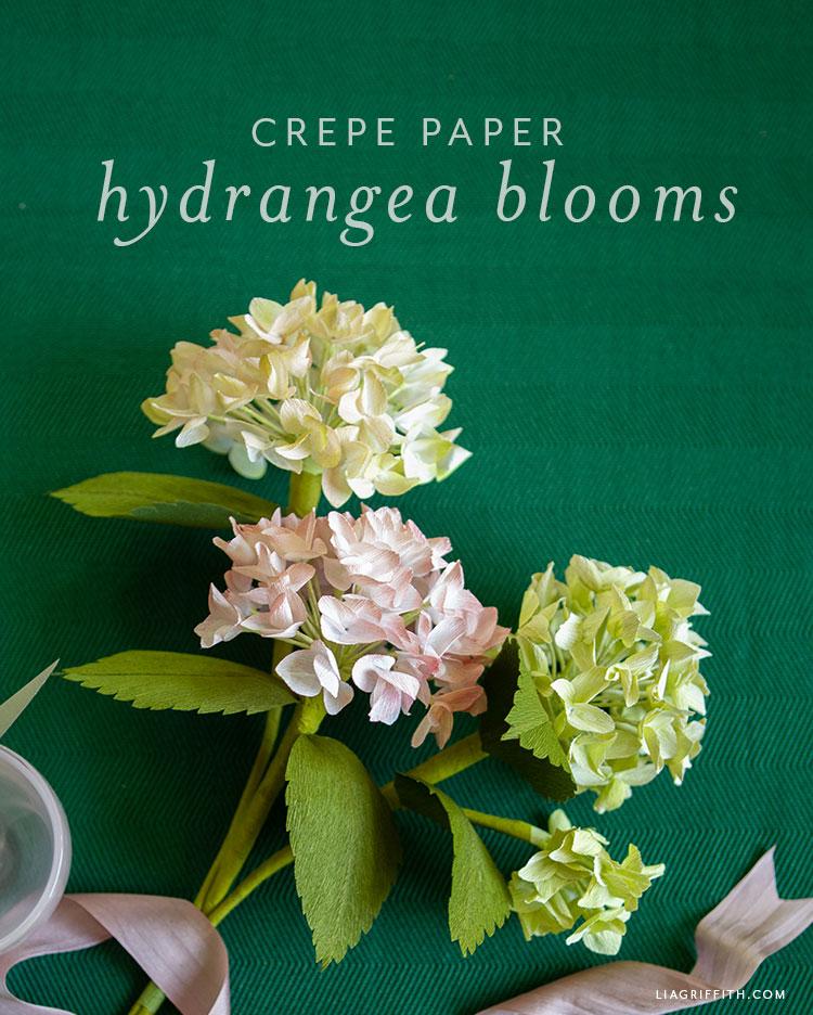 crepe paper hydrangea blooms