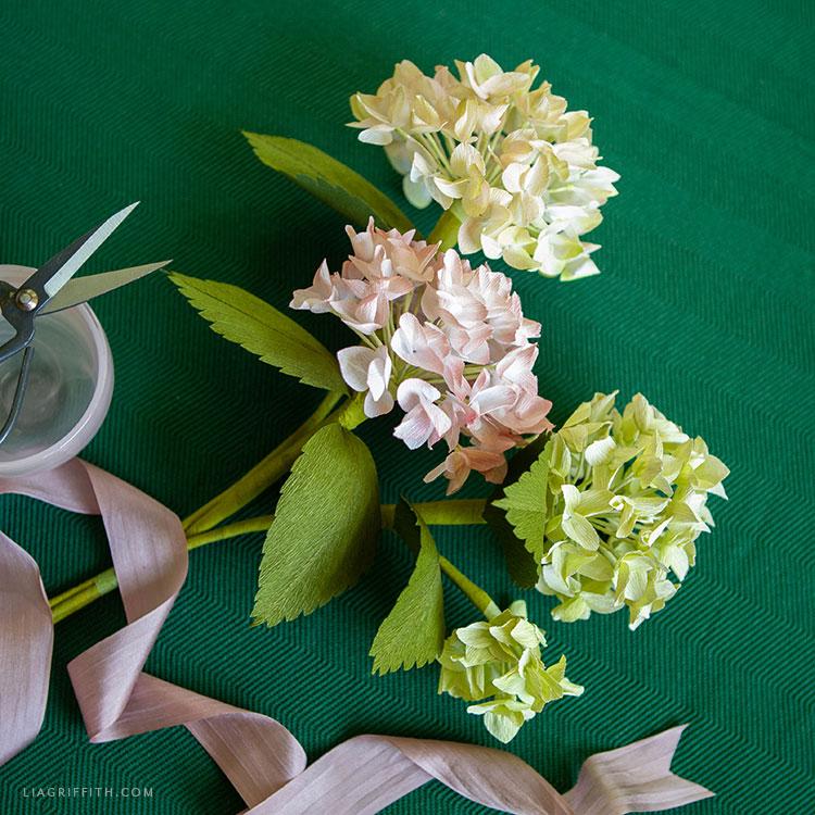 handmade crepe paper hydrangea blooms