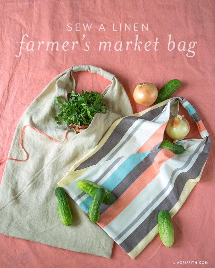 how to sew a linen farmer's market bag