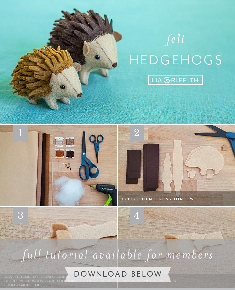 photo tutorial for felt hedgehog stuffies by Lia Griffith