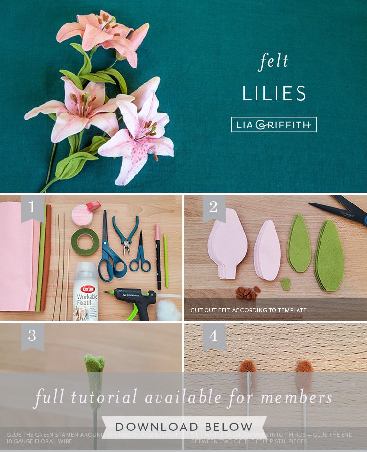 photo tutorial for felt lilies by Lia Griffith