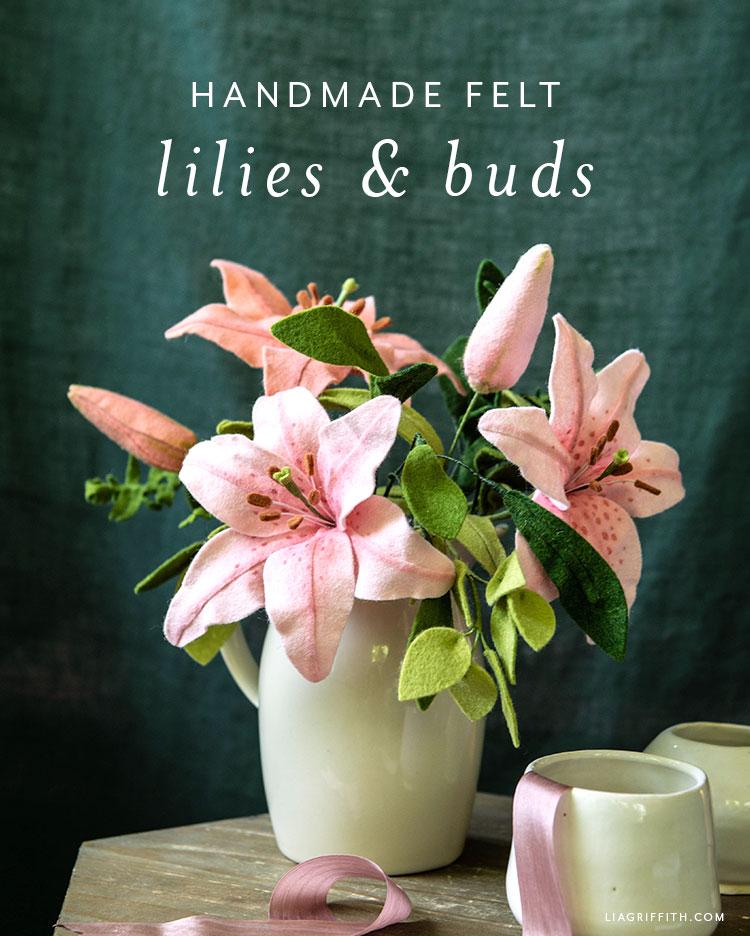 handmade felt lilies and buds