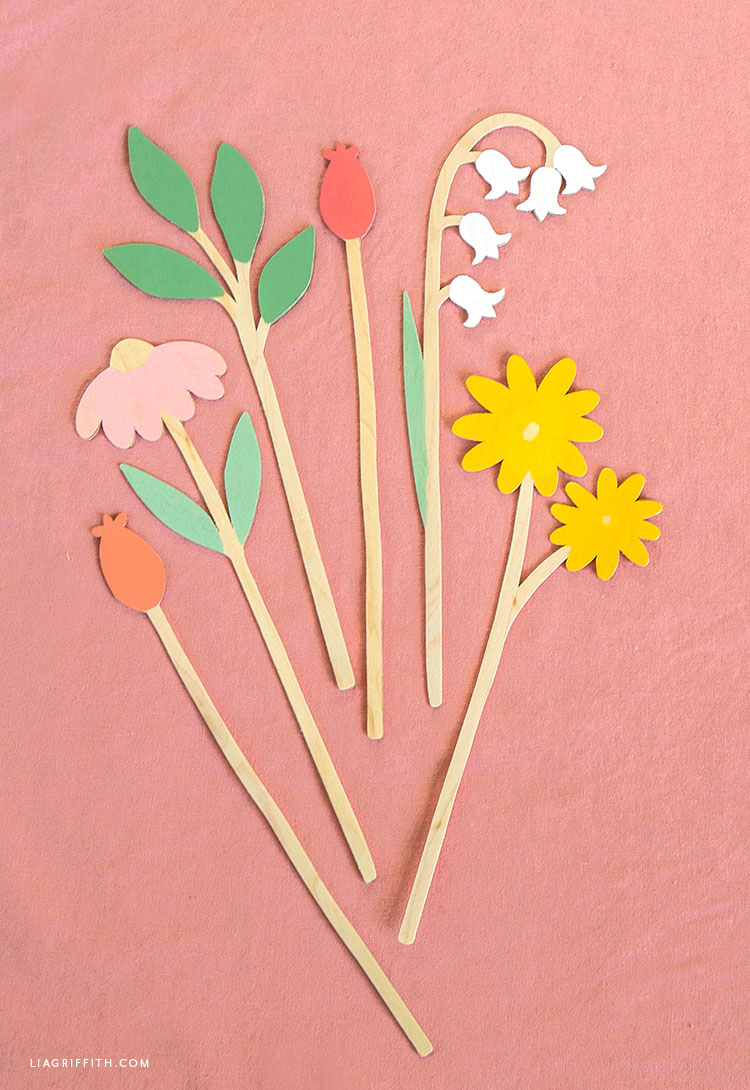 wooden flower stems DIY
