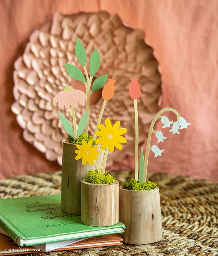 handmade wooden flower stems