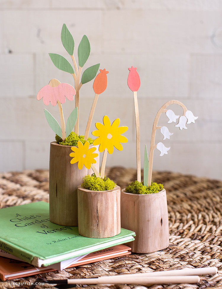DIY wooden flower stems