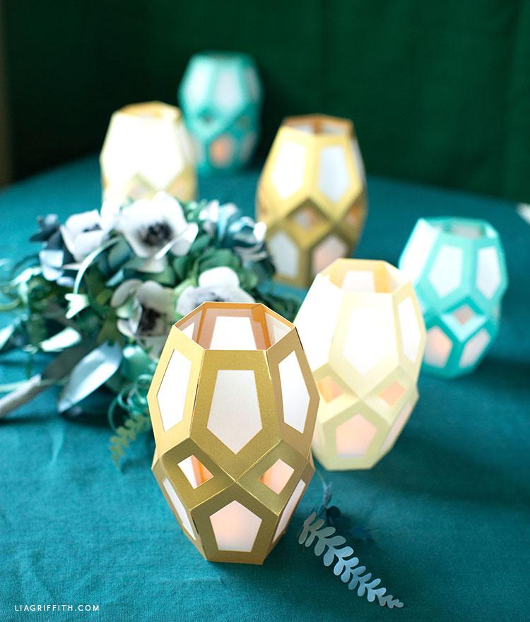 papercut geometric lanterns for table decor