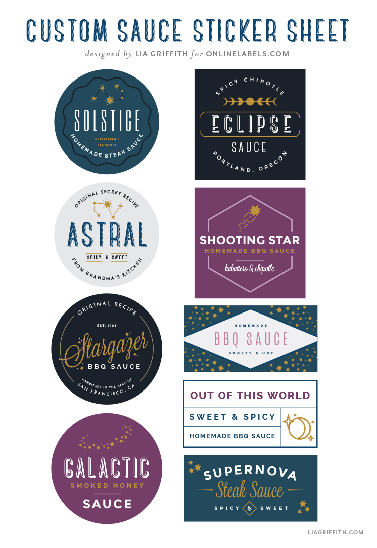 custom sauce sticker sheet designed by Lia Griffith for Online Labels