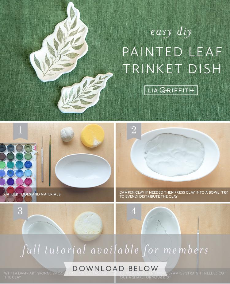 easy DIY painted leaf trinket dish by Lia Griffith