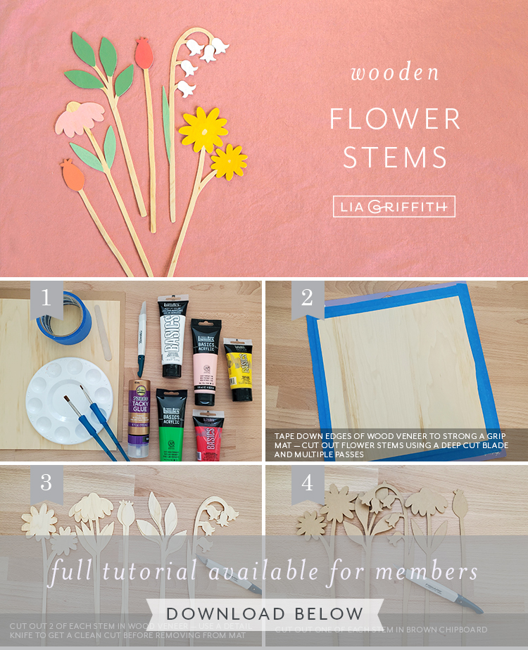 photo tutorial for wooden flower stems by Lia Griffith