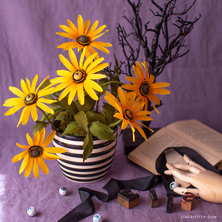 crepe paper black eyed Susan bouquet