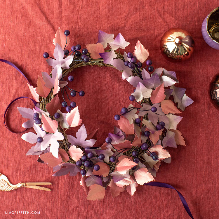handmade frosted paper fall leaf and berry wreath