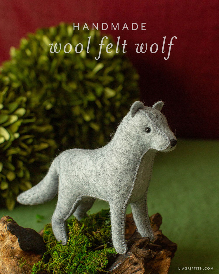 handmade wool felt wolf