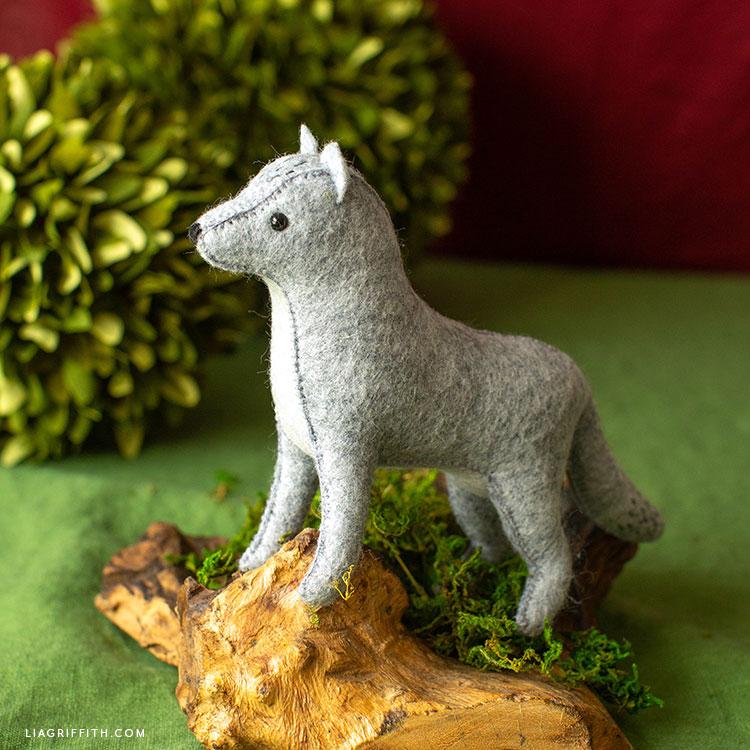 handmade felt wolf stuffie