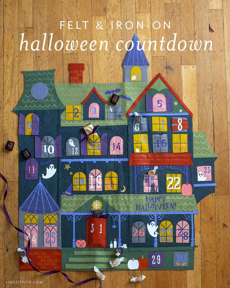 felt and iron-on Halloween countdown