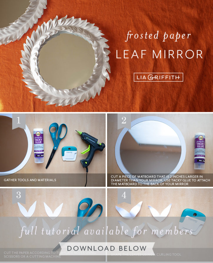 frosted paper leaf mirror photo tutorial by Lia Griffiith
