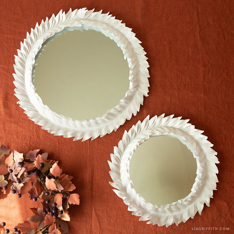 frosted paper leaf mirrors