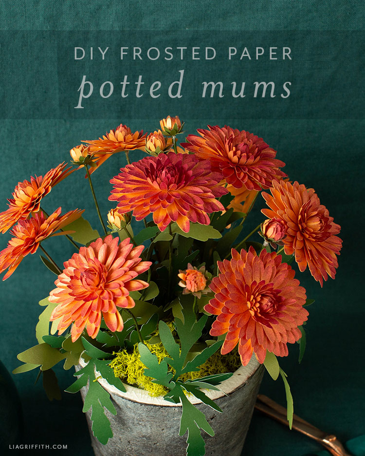 DIY frosted paper potted mums