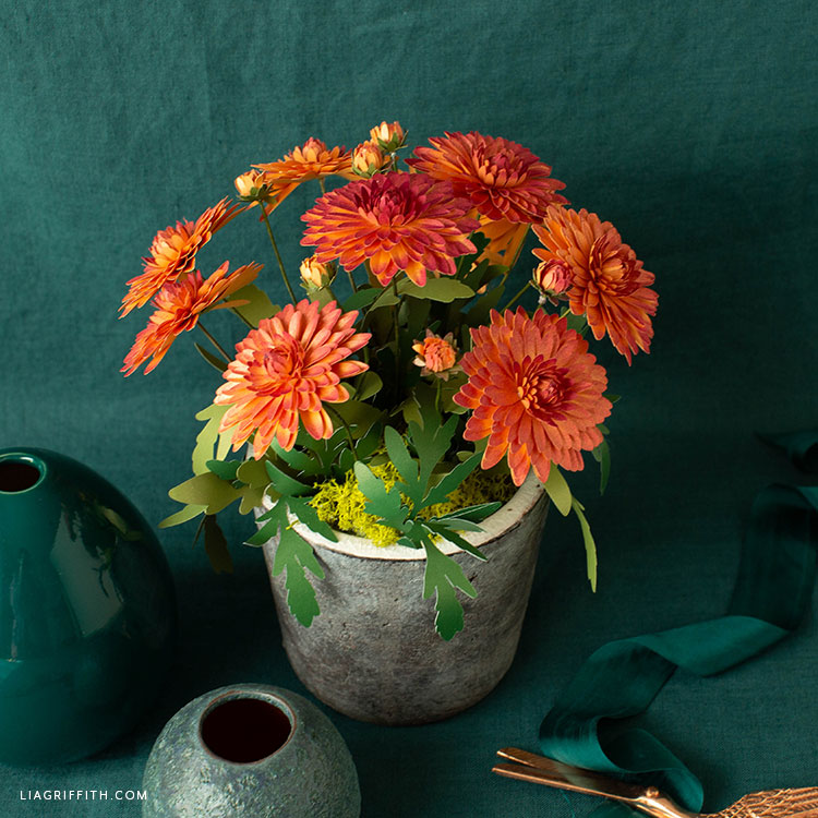 frosted paper mums bouquet