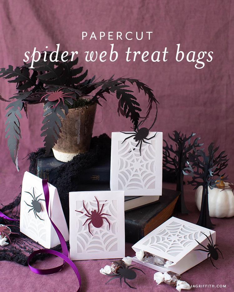 papercut spider web treat bags