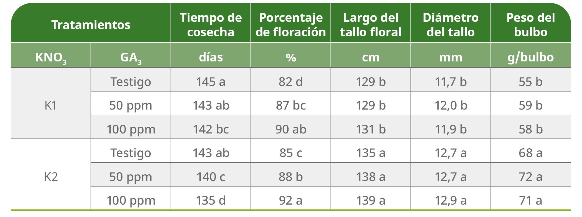 Nitrato de potasio en flor, el porcentaje de floración fue satisfactoria