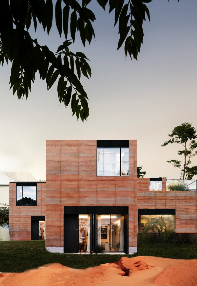 1st Brazil Rammed Earth Hostel emerge from Nature